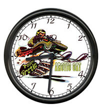 Arctic Cat Snowmobile Racing Cartoon Retro Vintage Dealer Sign Wall Clock