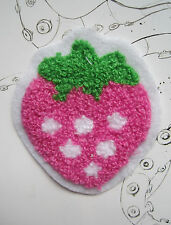 PINK STRAWBERRY SEW ON WOVEN LABEL PATCH - KIDS CUSTOMISE DIY CRAFTS