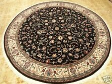 6.3 x 6.3 Hand Knotted Fine Quality Isfahan Design Black Round Oriental Wool Rug