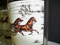"""6 ARBY'S COLLECTORS GLASSES CURRIER & IVES """"CHRISTMAS SNOW"""""""