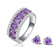 Silver S925 CZ Purple Zircon Micro Pave Ring Size 9