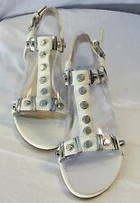 Authentic ALDO JOSEPHINA 70 WHITE and SILVESR Sandals z 7/38 SLIGHTLY USED