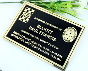 BRASS MEMORIAL PLAQUE GOLD AND BLACK WITH YOUR LOGO AND CUSTOM ENGRAVING