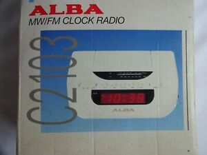 Alba C2103 Digital Alarm Clock AM/FM Radio, Snooze, Buzzer White Retro Vintage