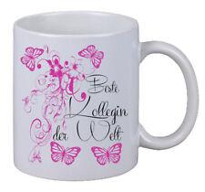 """Kaffee Tasse """"Beste Kollegin Floral"""" Geburtstag Geschenk Überraschung Butterfly"""