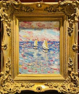 "KADLIC Original Oil Painting Abstract Seascape Impasto Gold Gilt 15"" Frame"