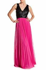 NWT Nicole Miller Black Sequin Bodice Magenta Pink Pleated Mesh Dress Gown 8