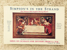 Simpson's In The Strand London  Ad Postcard Restaurant UK 1920 Vintage unposted