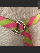 Women's J. CREW Ring BELT Silk STRIPED Multicolor S/M Size Pink Green