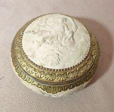 antique ornate gilt bronze mounted pottery victorian dresser vanity box jar nude