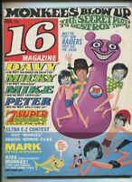 16 Magazine  Aug 1967 Sonny & Cher Monkees,Freeddy Weller,Elvis, MBX25