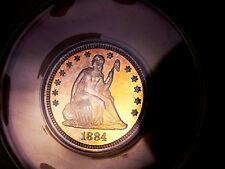 Seated Quarter 1884 ANACS PF 64+++++Old Blue Holder Under Grade Monster Rainbow