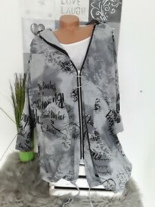 Italy Damen Long Jacke Big Hoodie  EG 54 56 NEU Taschen grau Schrift