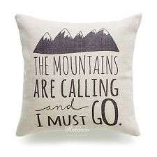 Hofdeco Mountains Calling Script Thick Fabric Throw Pillow Case Cushion Cover 18