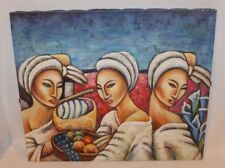 ORIGINAL SIGNED OIL ACRYLIC ON CANVAS PAINTING OF AFRICAN WOMEN BY LISA MORGAN