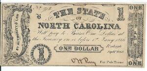 $1 1862 North Carolina Cr88A Grey-Black #713 Rarity 7 No Printer Name State