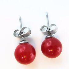 Rote Perlen Ohrstecker 8mm Muschelkernperlen Rund Rot Damen Ohrringe Edelstahl