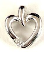 LOVELY SIGNED 10K SOLID WHITE GOLD ROUND DIAMOND ACCENT HEART PENDANT
