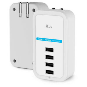 iLuv ROCKW4ULWH Compact 4 Port USB Wall Charger with Smart Charging, Safety Desi