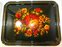 Russian Vintage 1989 Zhostovo Tole Metal Tray 17 x 13 Hand painted signed artist