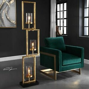 """CIELO MODERN 64"""" AGED GOLD STAGGERED STEEL FLOOR LAMP GLASS GLOBES UTTERMOST"""