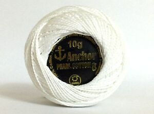 3 x Solid Colour Anchor Crochet Cotton embroidery thread Ball - WHITE COLOR