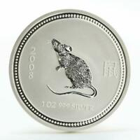 Australia 1 dollar Year of Mouse Lunar Series I silver coin 2008