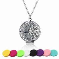 Essential Doterra Oil Diffuser Flower Silver Necklace Aromatherapy DIY + 5 Pads