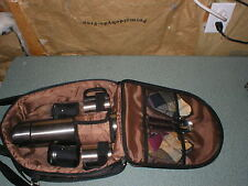 HOT COLD CANVAS THERMOS SET PICNIC TIME 2 CUPS NAPKIN SPOONS CARRY CASE