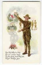 WWI SOLDIER Going Home Postcard c 1918 For the Strife Here's the Life