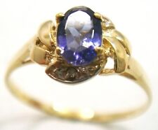 FINE 9KT YELLOW GOLD NATURAL IOLITE & DIAMOND RING SIZE 7
