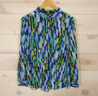 Liz Claiborne Women's Sz L Blouse Sheer Button Front Blue Geometric Pattern