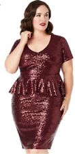 Plus Size Women Sequin Dress Red Ruby Peplum Cocktail Evening Size 24