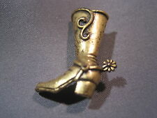 and Strap Gold-tone Pin / Brooch Vintage Western Cowboy Boot with Spurs