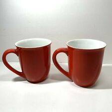 Pair of Pretty Red and White Coffee Mugs Tapered Flared Tea Kitchen Accent