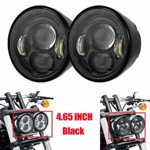 "2PCS 4.65"" Inch Twin Dual LED Headlight For Harley Davidson for Fat Bob Headlamp"
