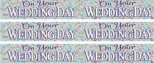 ON YOUR WEDDING DAY WHITE AND SILVER GIANT FOIL BANNER (EX)