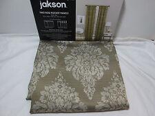 """Jakson KINGS ROAD Medallion Room Darkening Window Panels Two-40""""x84"""" Olive Green"""