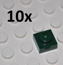 LEGO PARTS - 10X DARK GREEN FLAT PLATES 1X1 STUDS - SQUARE BUILDING PIECES 3024