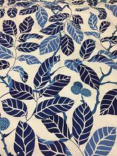 "IKEA 2 Drapery Panels STOCKHOLM BLAD Leaves BLUE Linen Lined 54"" X 72"" EUC"