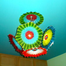 Blown Glass Chandelier- Flower Light - Chandelier - Art Glass Lighting