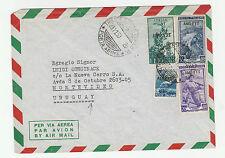 STORIA POSTALE 1950 TRIESTE 4 VALORI SU BUSTA DIRETTA A MONTEVIDEO Z/3708