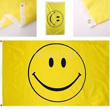 Yellow Smiley Face Happy Face Flag 3'x5' Banner Grommets High Quality Flags