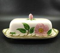 Franciscan Desert Rose 2 Piece Butter Dish Plate & Cover Rose Finial Vintage