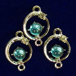 3Pcs Carved Tibetan silver Wrapped Blue Opal Globe Pendant Bead F91665