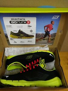 NEW 2013 Skechers Go Run 2 Supreme Mens Running Shoes Black Lime Size 7 E6