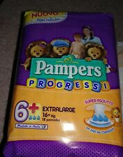 Pampers Progressi Size +6 XXL Diapers 18 Sealed Pack Italy larger then Size 7