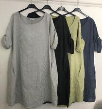 Ladies Lagenlook Plus Parachute Balloon Linen Pocket Stripe Dress Size 18-24