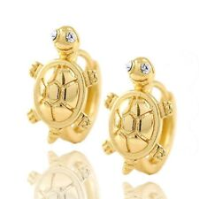 Toddler girls kids 18K gold Filled Cute Turtle safety baby Hoop Earrings earings