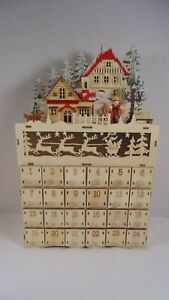 Martha Stewart Holiday Christmas Advent Calendar Light Up Wooden
